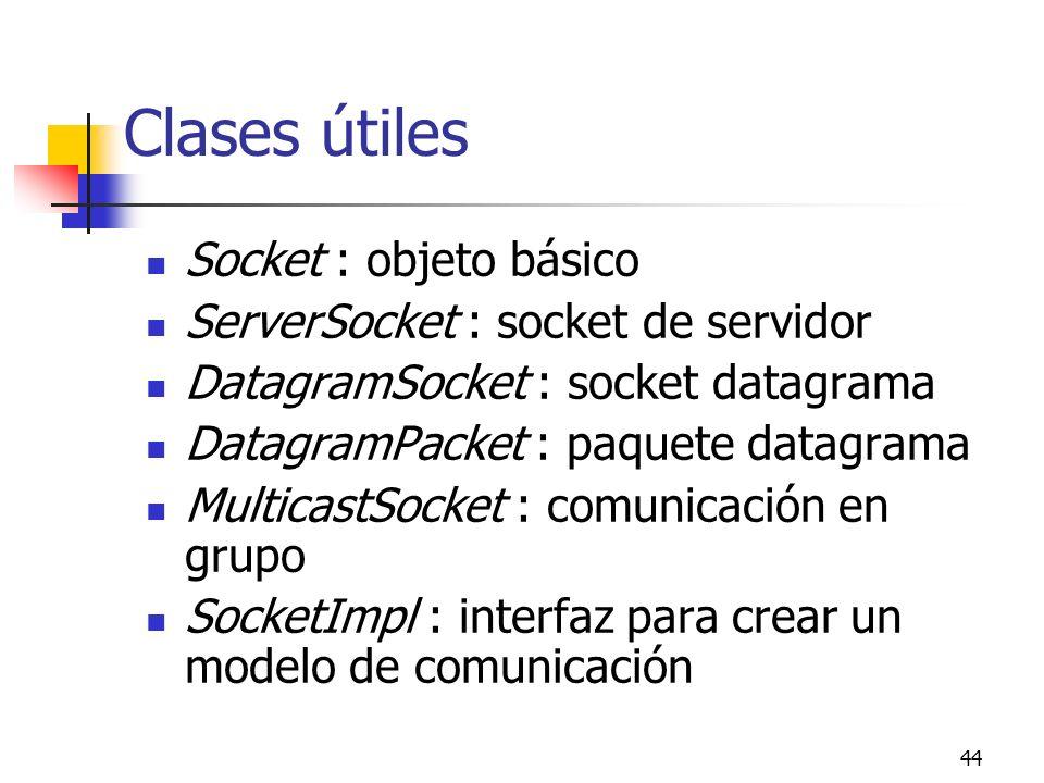 Clases útiles Socket : objeto básico ServerSocket : socket de servidor