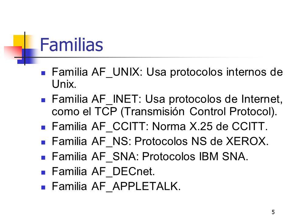Familias Familia AF_UNIX: Usa protocolos internos de Unix.