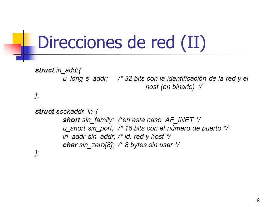 Direcciones de red (II)