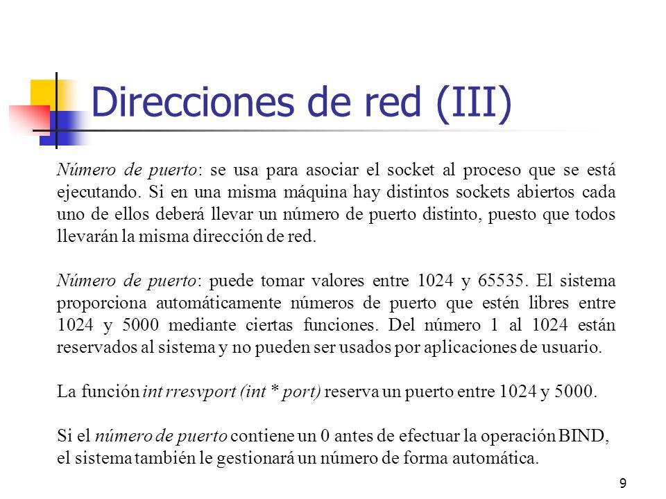 Direcciones de red (III)