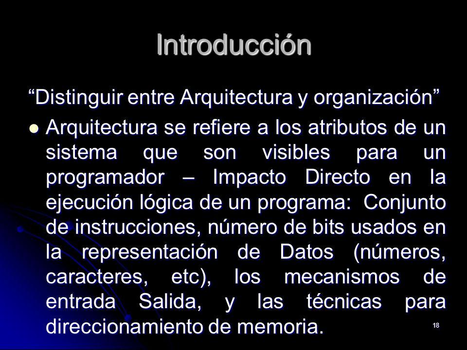 Introducción Distinguir entre Arquitectura y organización