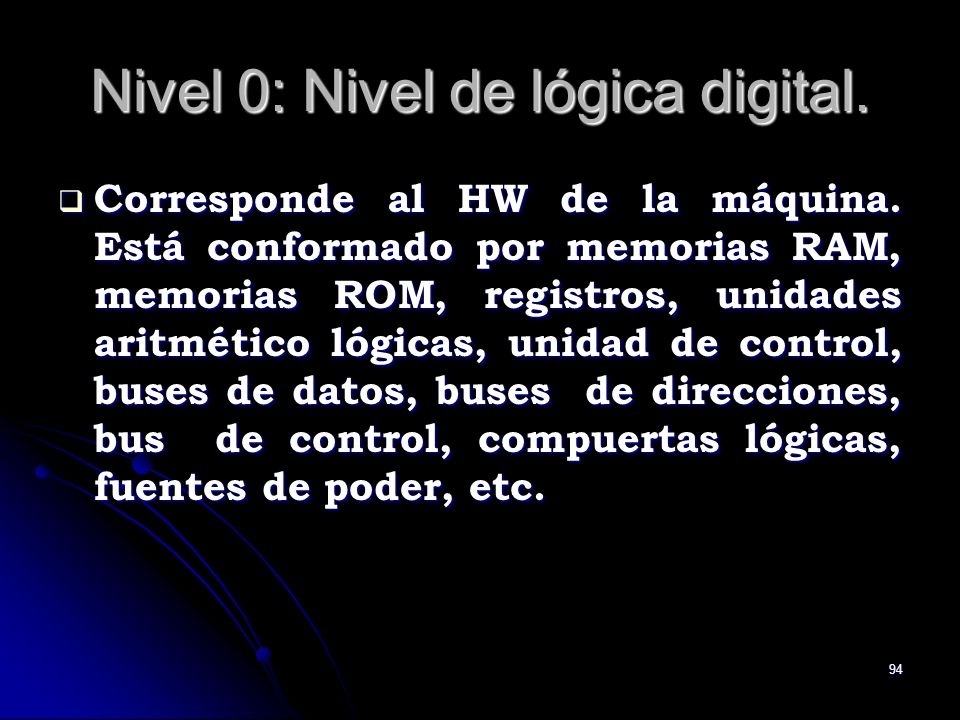 Nivel 0: Nivel de lógica digital.