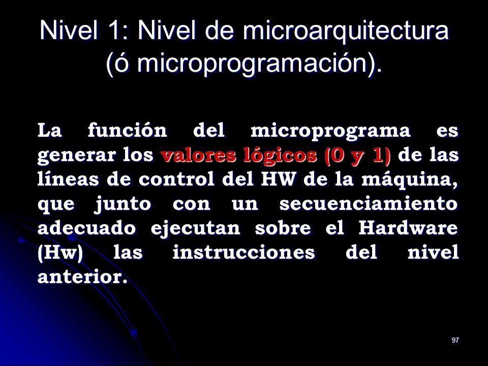 Nivel 1: Nivel de microarquitectura (ó microprogramación).