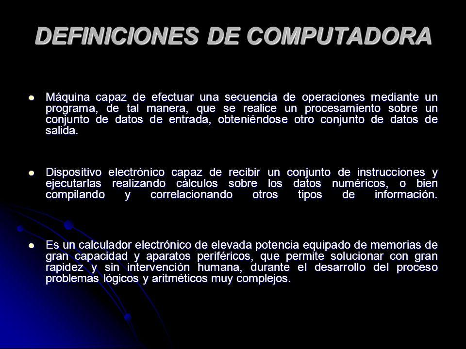 DEFINICIONES DE COMPUTADORA
