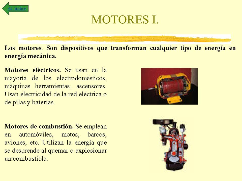 Al índice MOTORES I. Los motores. Son dispositivos que transforman cualquier tipo de energía en energía mecánica.