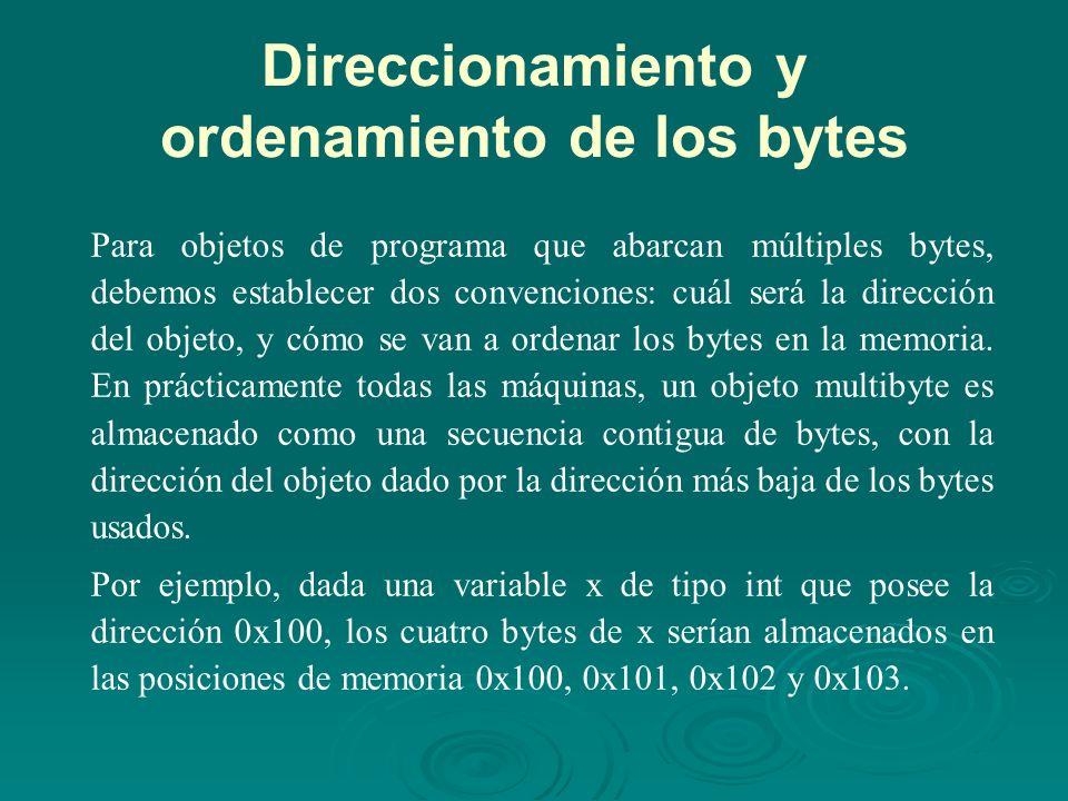 Direccionamiento y ordenamiento de los bytes