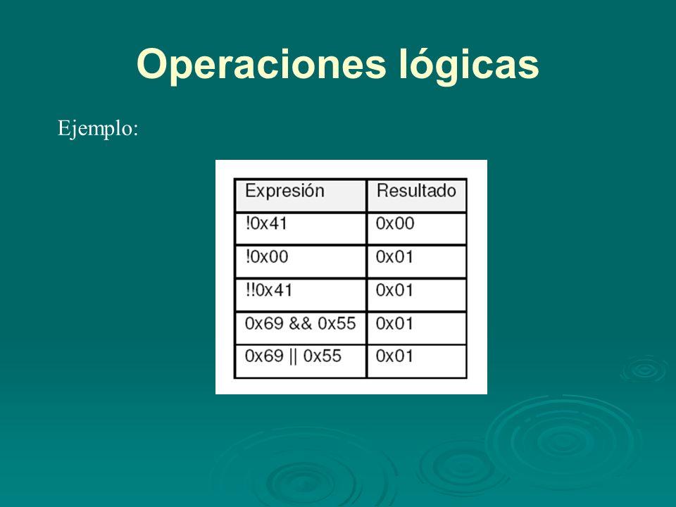 Operaciones lógicas Ejemplo: