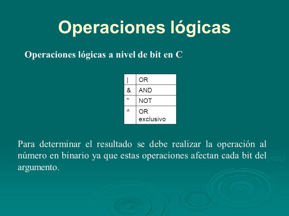 Operaciones lógicas Operaciones lógicas a nivel de bit en C