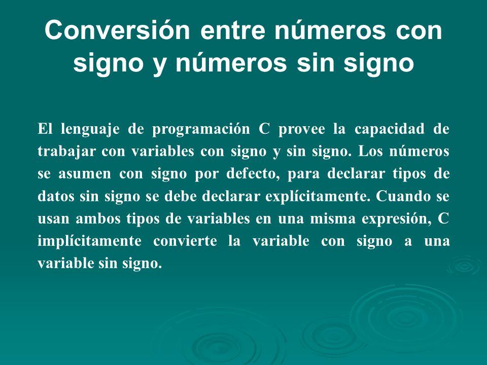 Conversión entre números con signo y números sin signo