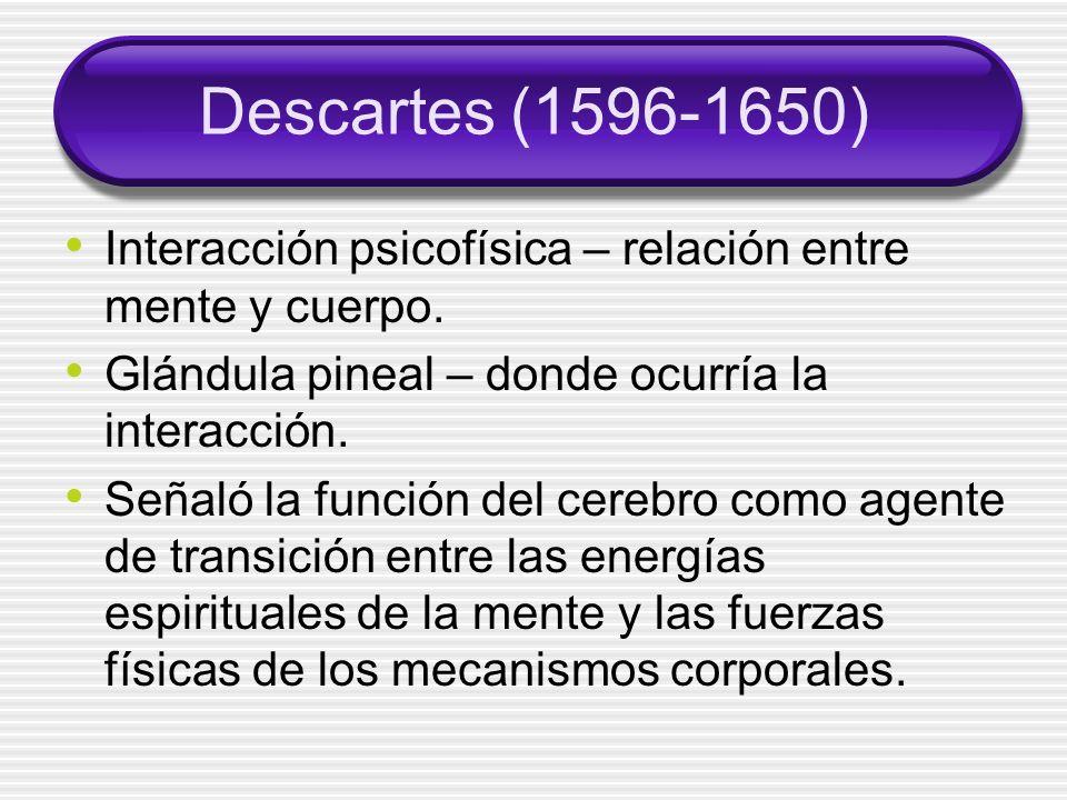 Descartes (1596-1650) Interacción psicofísica – relación entre mente y cuerpo. Glándula pineal – donde ocurría la interacción.