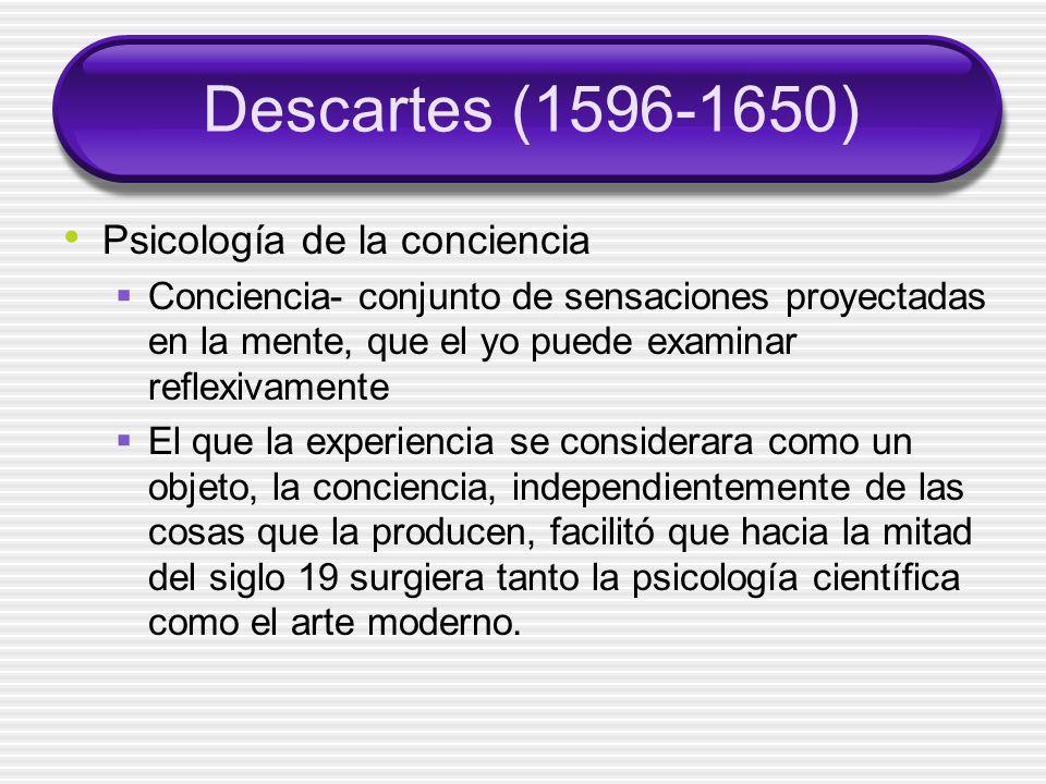 Descartes (1596-1650) Psicología de la conciencia