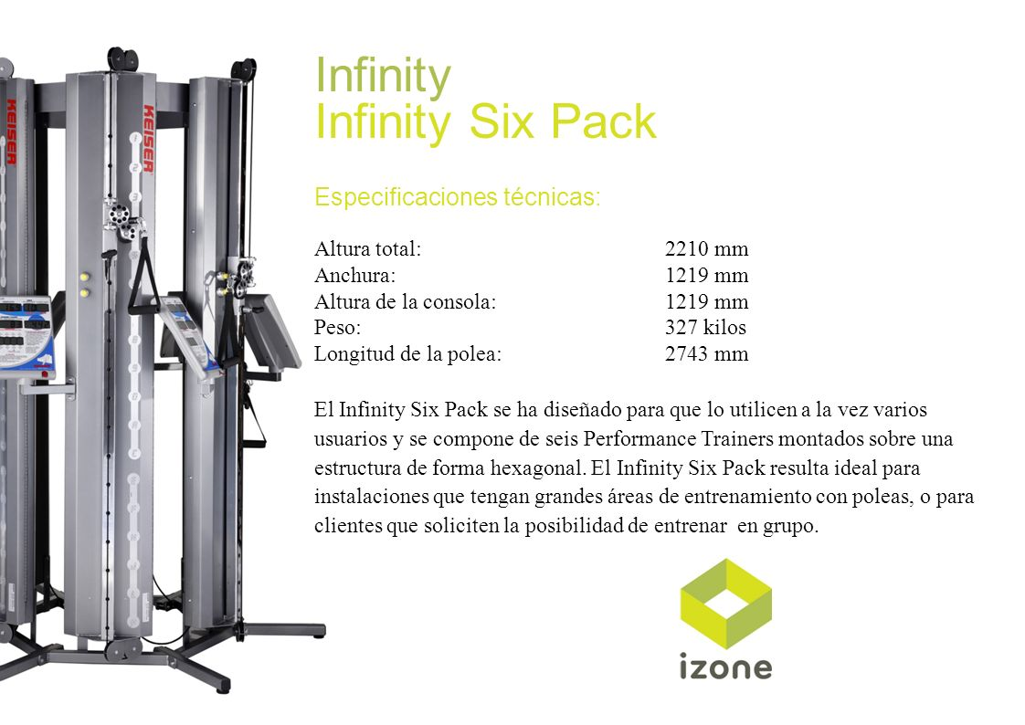 Infinity Infinity Six Pack Especificaciones técnicas:
