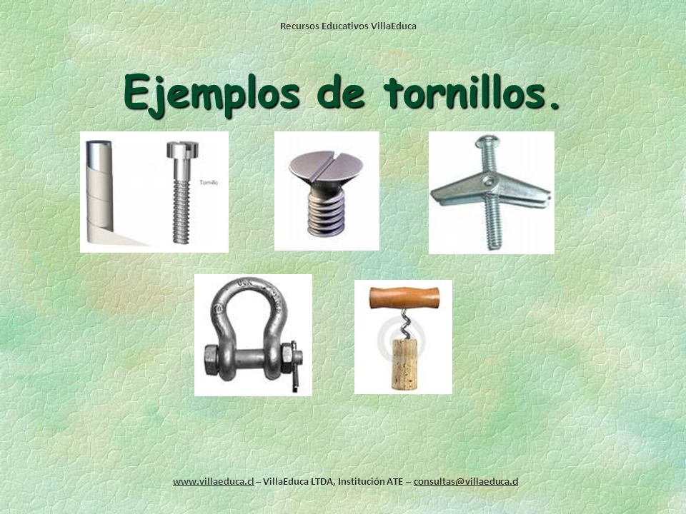 Ejemplos de tornillos.