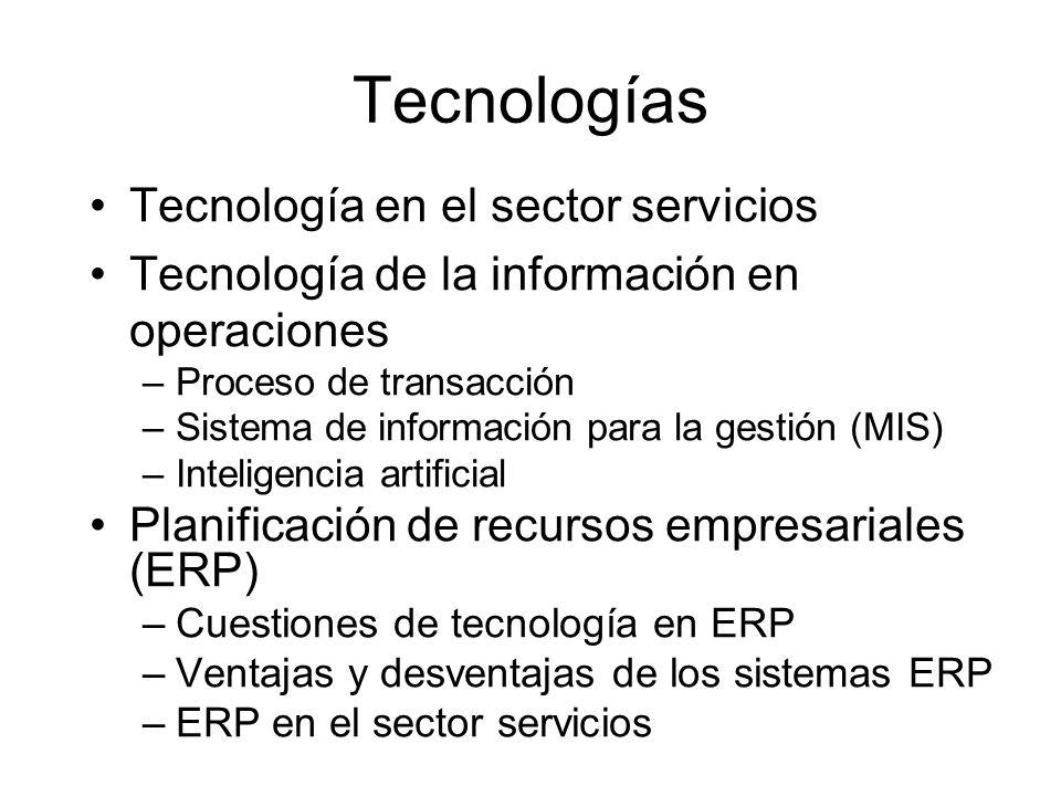 Tecnologías Tecnología en el sector servicios