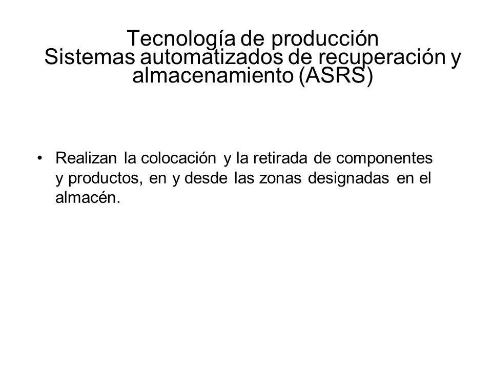 Tecnología de producción Sistemas automatizados de recuperación y almacenamiento (ASRS)
