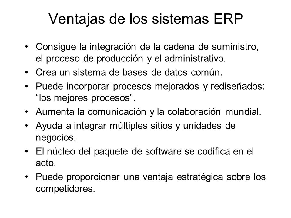 Ventajas de los sistemas ERP