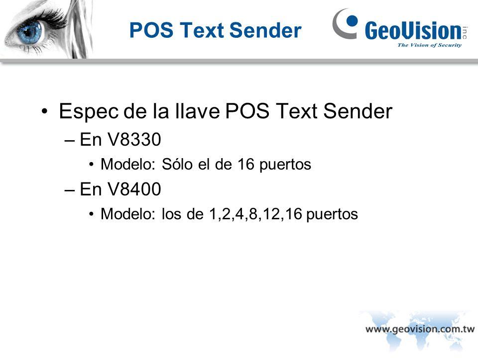 Espec de la llave POS Text Sender