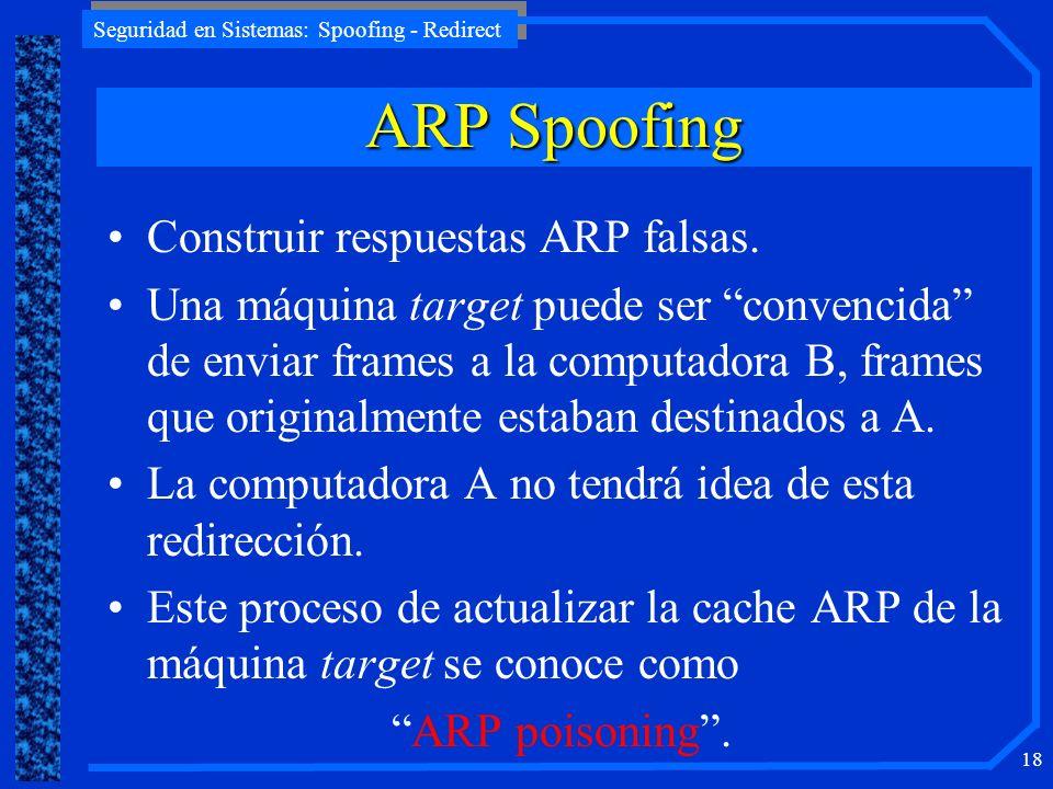ARP Spoofing Construir respuestas ARP falsas.