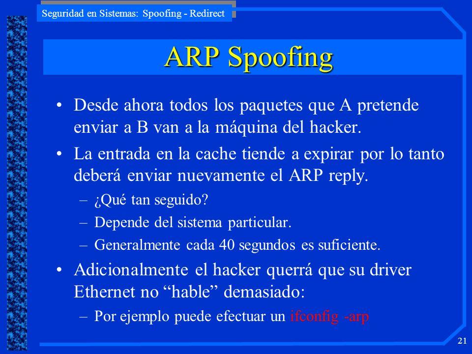 ARP Spoofing Desde ahora todos los paquetes que A pretende enviar a B van a la máquina del hacker.