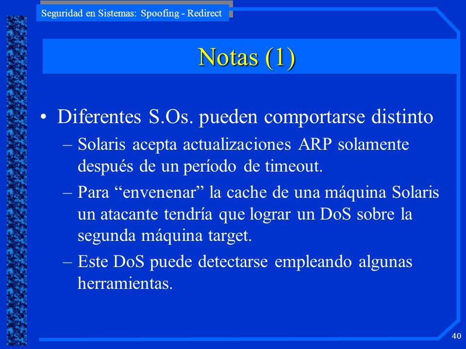 Notas (1) Diferentes S.Os. pueden comportarse distinto