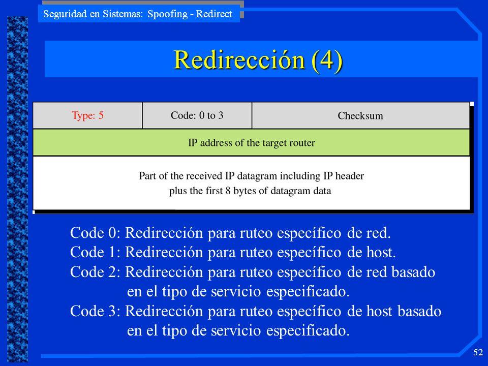 Redirección (4) Code 0: Redirección para ruteo específico de red.