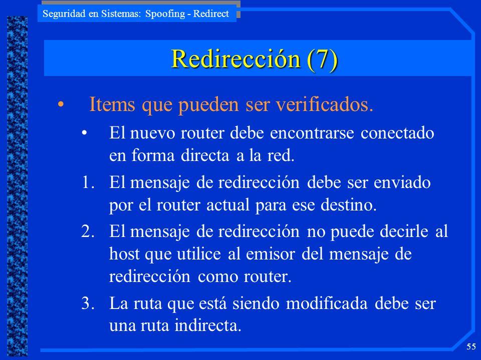 Redirección (7) Items que pueden ser verificados.