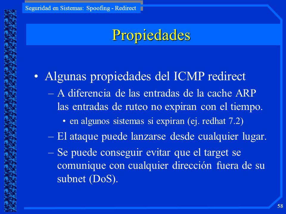 Propiedades Algunas propiedades del ICMP redirect