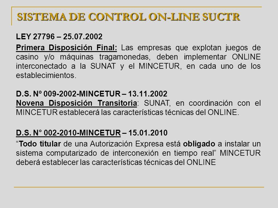 SISTEMA DE CONTROL ON-LINE SUCTR