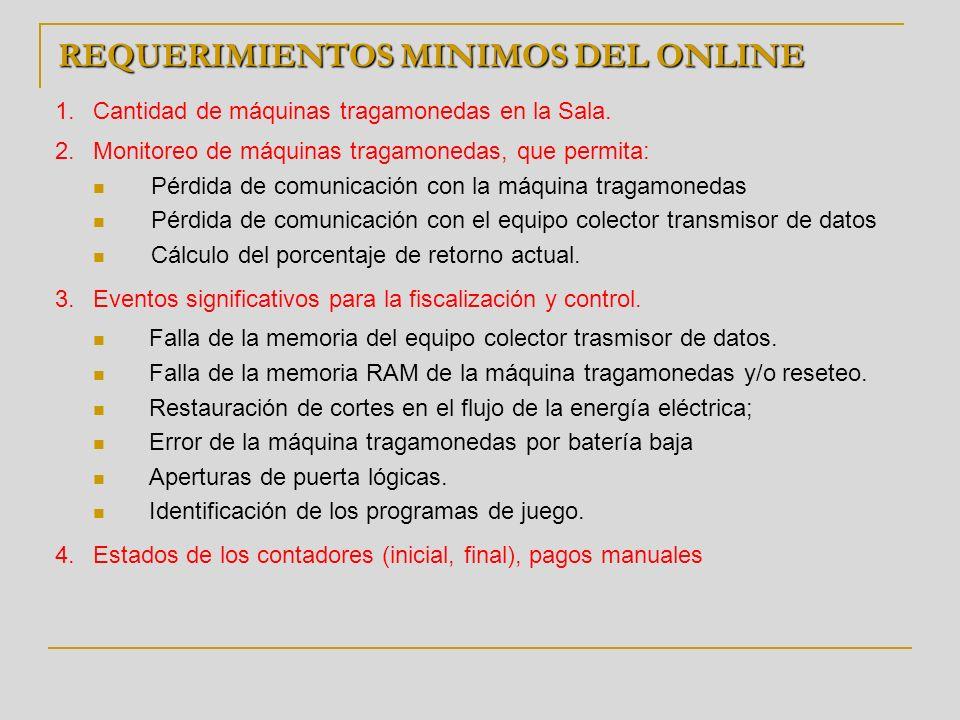 REQUERIMIENTOS MINIMOS DEL ONLINE