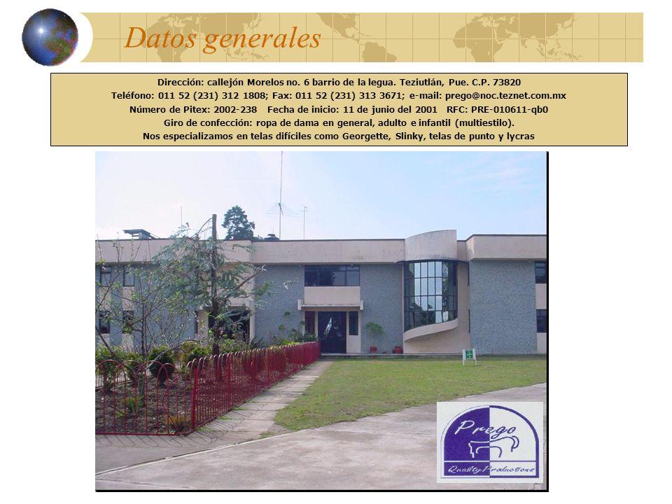 Datos generales Dirección: callejón Morelos no. 6 barrio de la legua. Teziutlán, Pue. C.P. 73820.