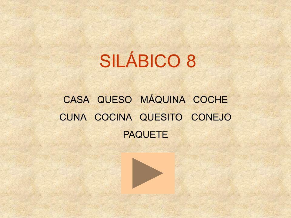 SILÁBICO 8 CASA QUESO MÁQUINA COCHE CUNA COCINA QUESITO CONEJO PAQUETE