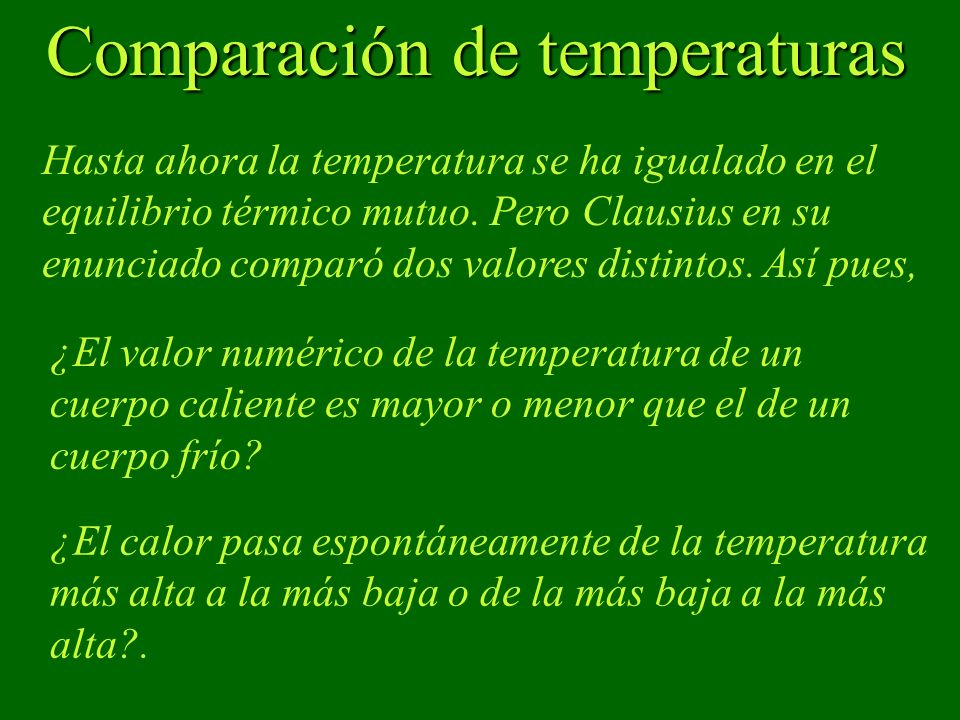 Comparación de temperaturas