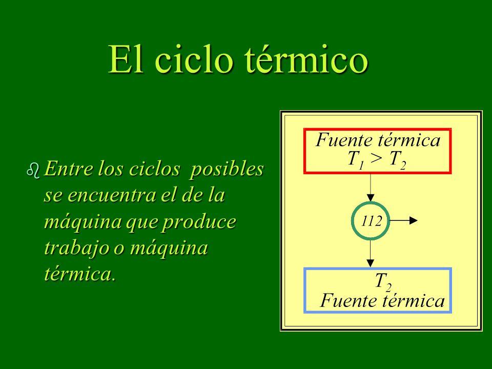El ciclo térmico Entre los ciclos posibles se encuentra el de la máquina que produce trabajo o máquina térmica.