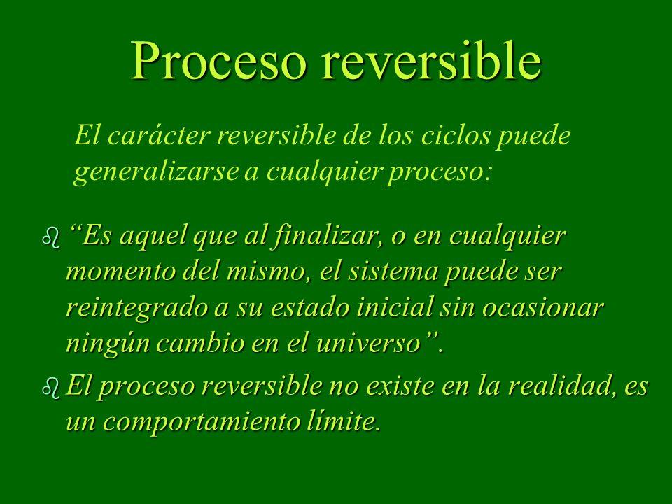 Proceso reversible El carácter reversible de los ciclos puede generalizarse a cualquier proceso: