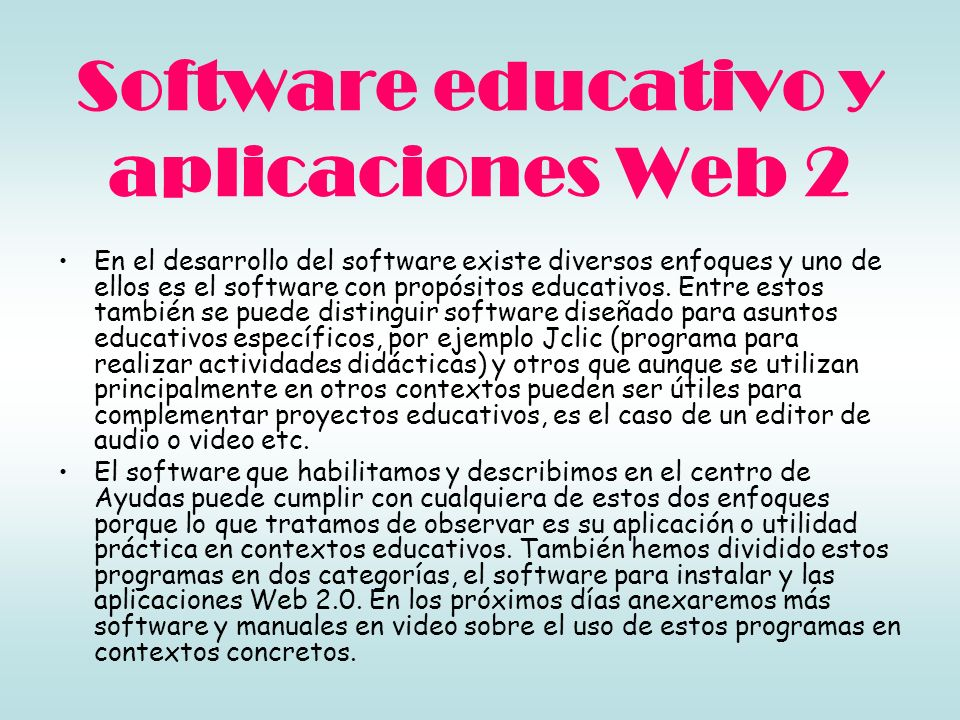 Software educativo y aplicaciones Web 2