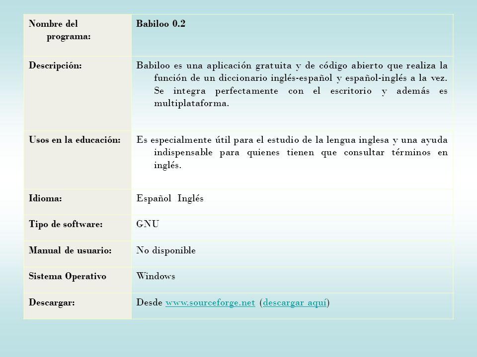 Nombre del programa: Babiloo 0.2. Descripción: