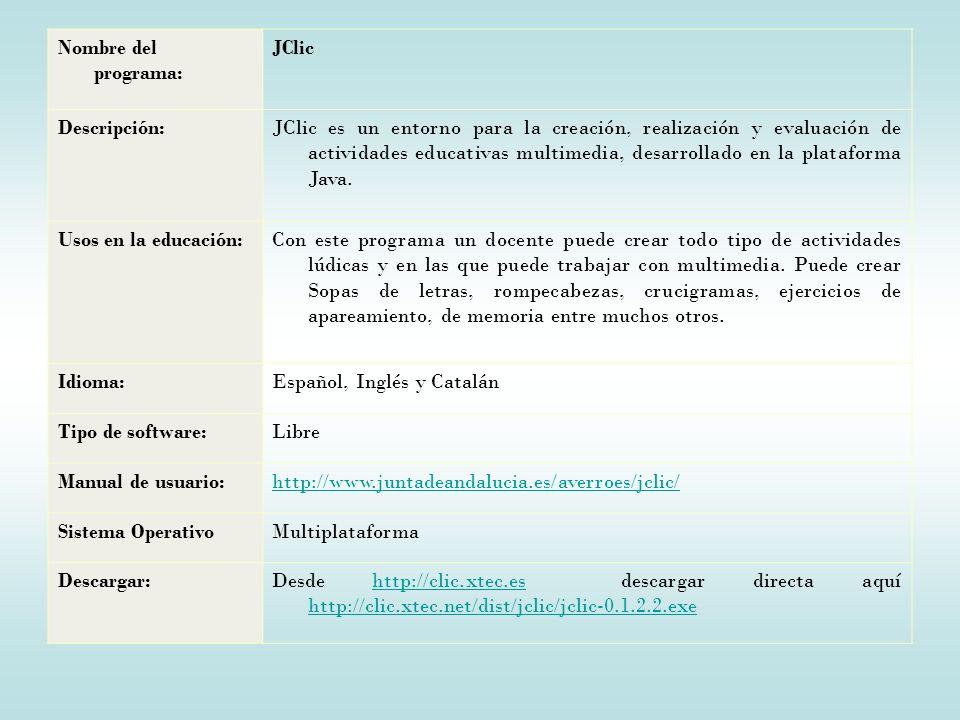 Nombre del programa: JClic. Descripción: