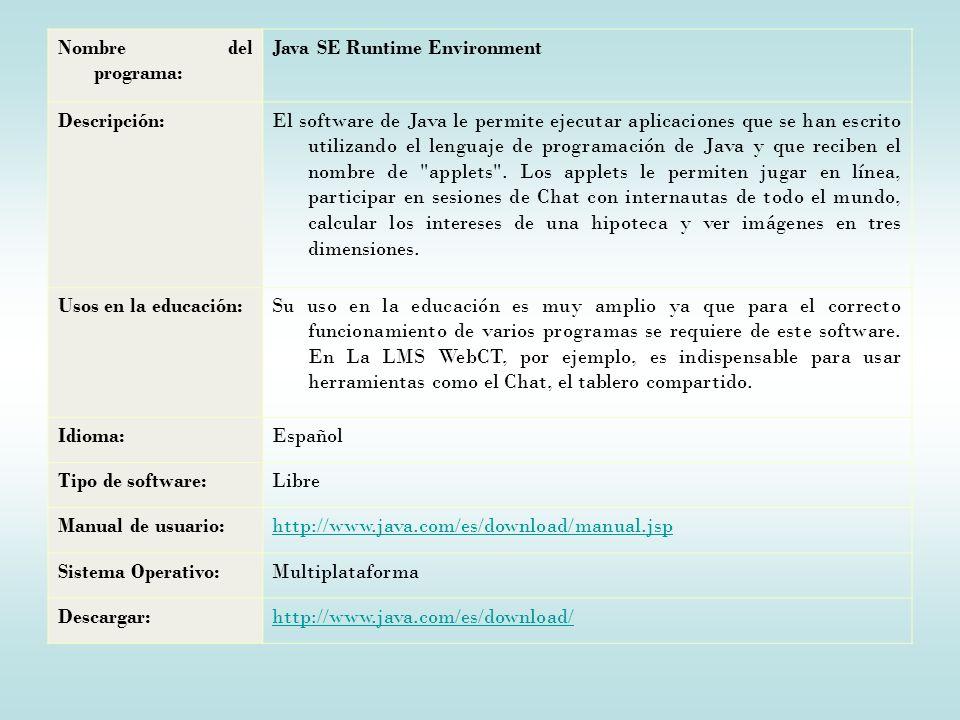 Nombre del programa: Java SE Runtime Environment. Descripción: