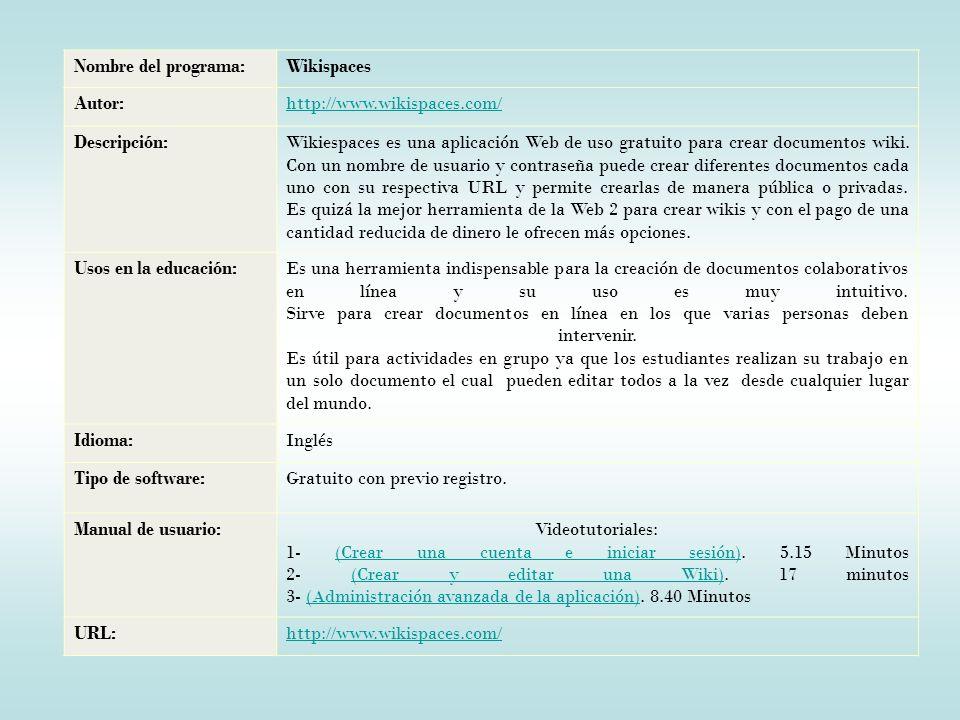 Nombre del programa: Wikispaces. Autor: http://www.wikispaces.com/ Descripción:
