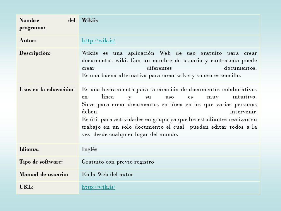 Nombre del programa: Wikiis. Autor: http://wik.is/ Descripción: