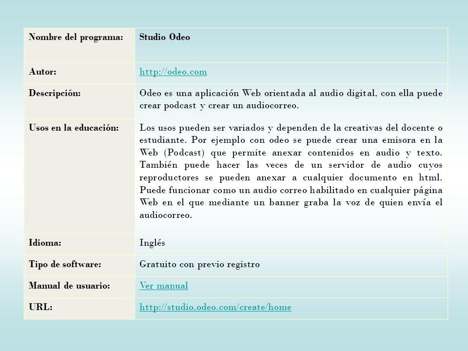 Nombre del programa: Studio Odeo. Autor: http://odeo.com. Descripción: