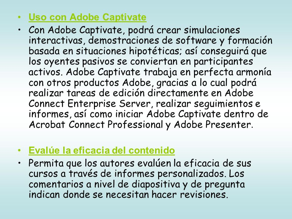 Uso con Adobe Captivate