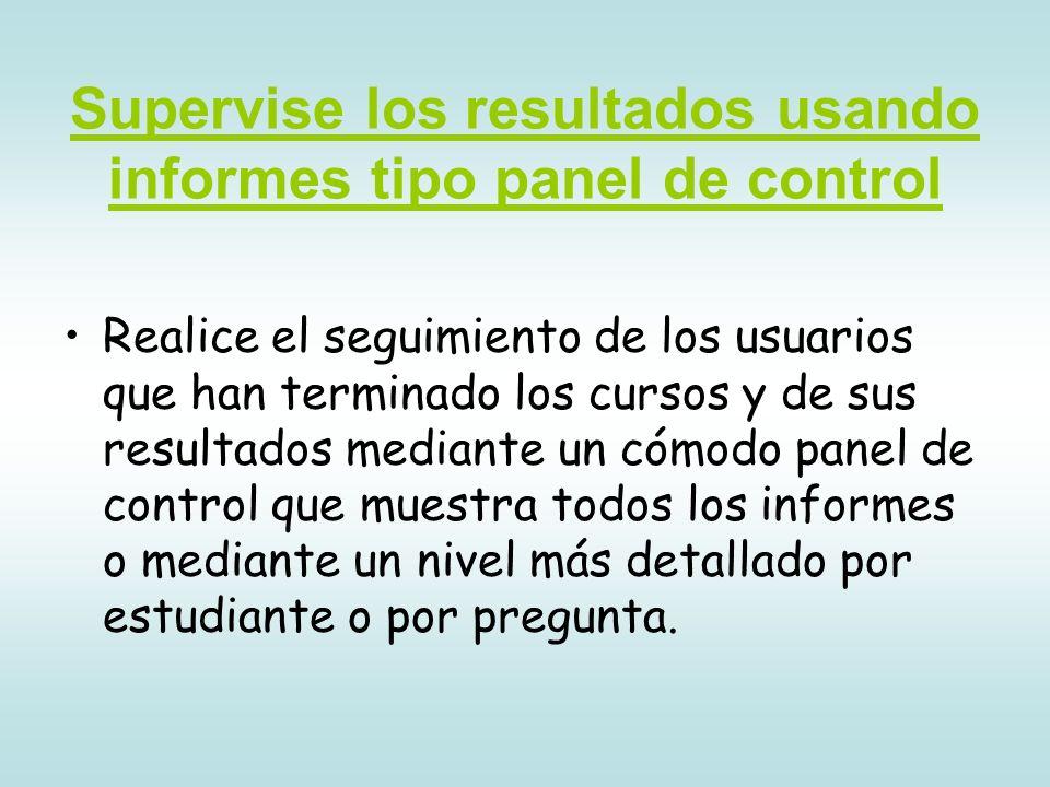Supervise los resultados usando informes tipo panel de control