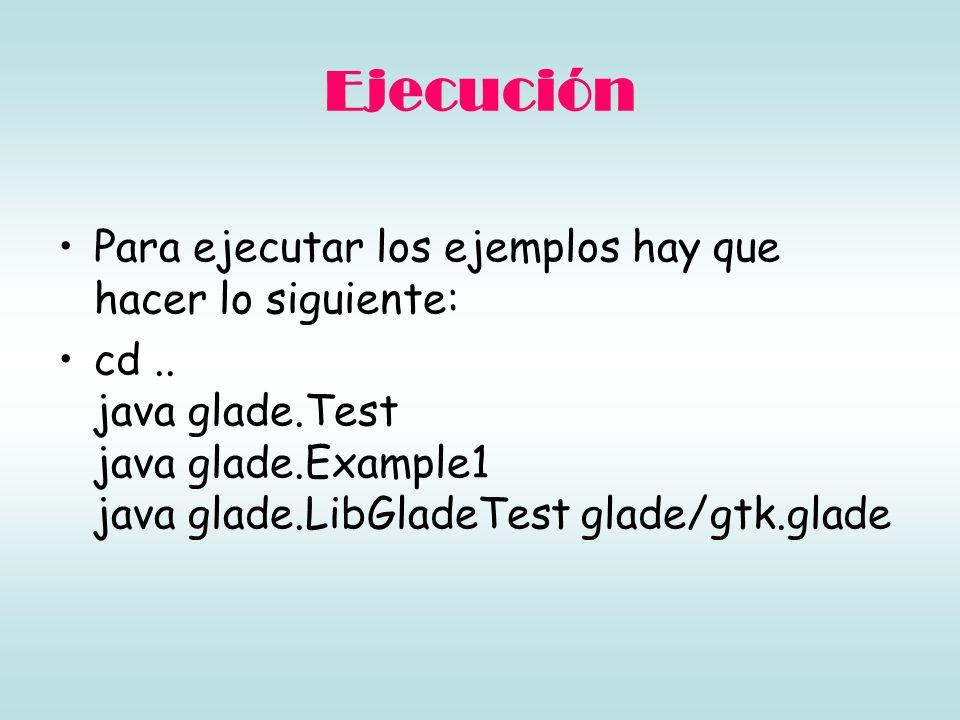 Ejecución Para ejecutar los ejemplos hay que hacer lo siguiente: