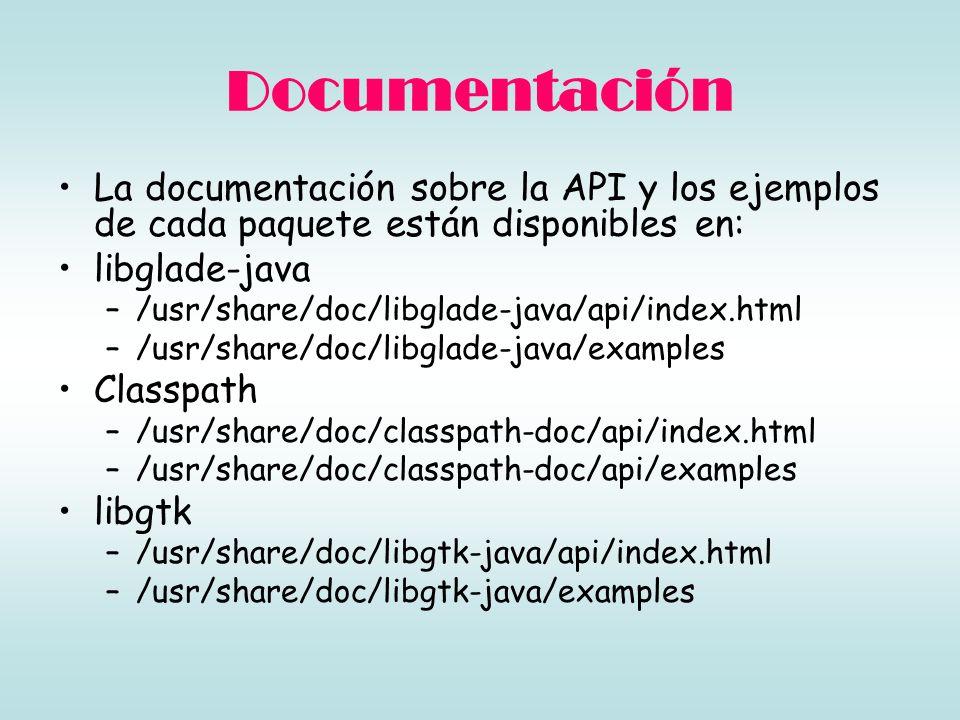 Documentación La documentación sobre la API y los ejemplos de cada paquete están disponibles en: libglade-java.