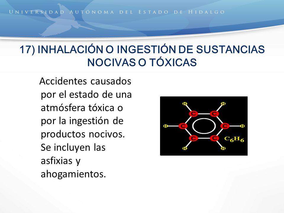 17) INHALACIÓN O INGESTIÓN DE SUSTANCIAS NOCIVAS O TÓXICAS