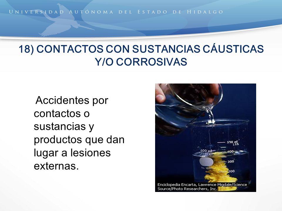 18) CONTACTOS CON SUSTANCIAS CÁUSTICAS Y/O CORROSIVAS