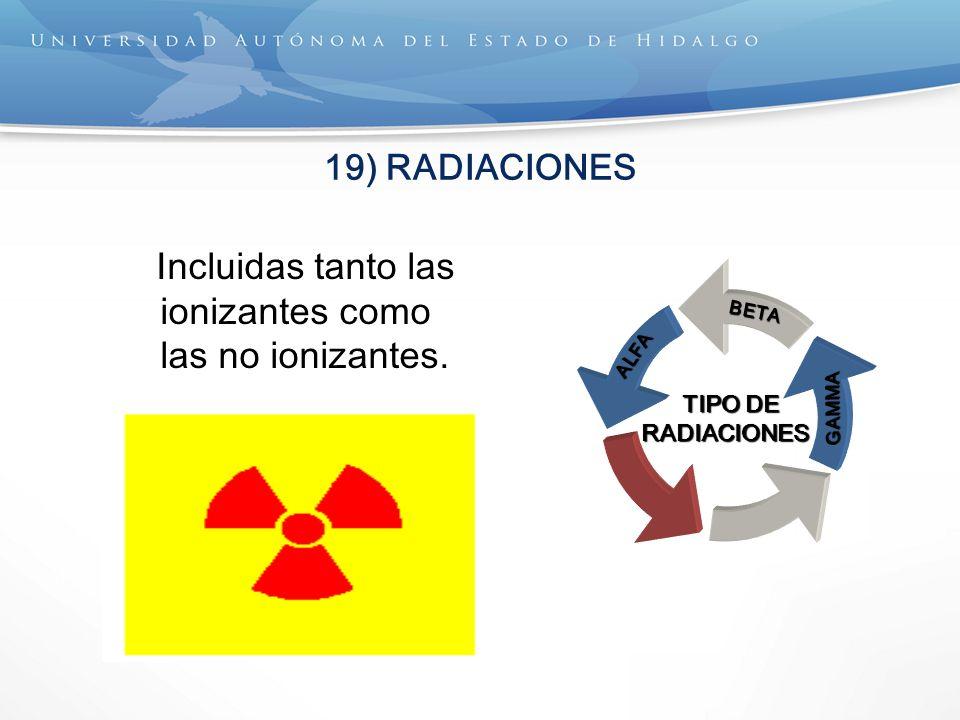 Incluidas tanto las ionizantes como las no ionizantes.