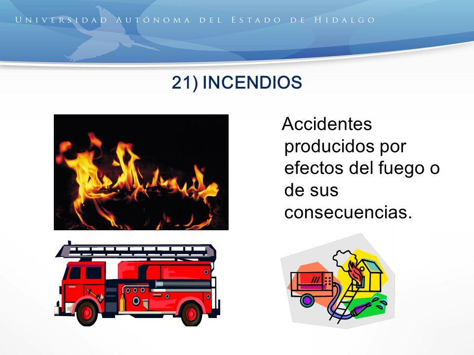 Accidentes producidos por efectos del fuego o de sus consecuencias.