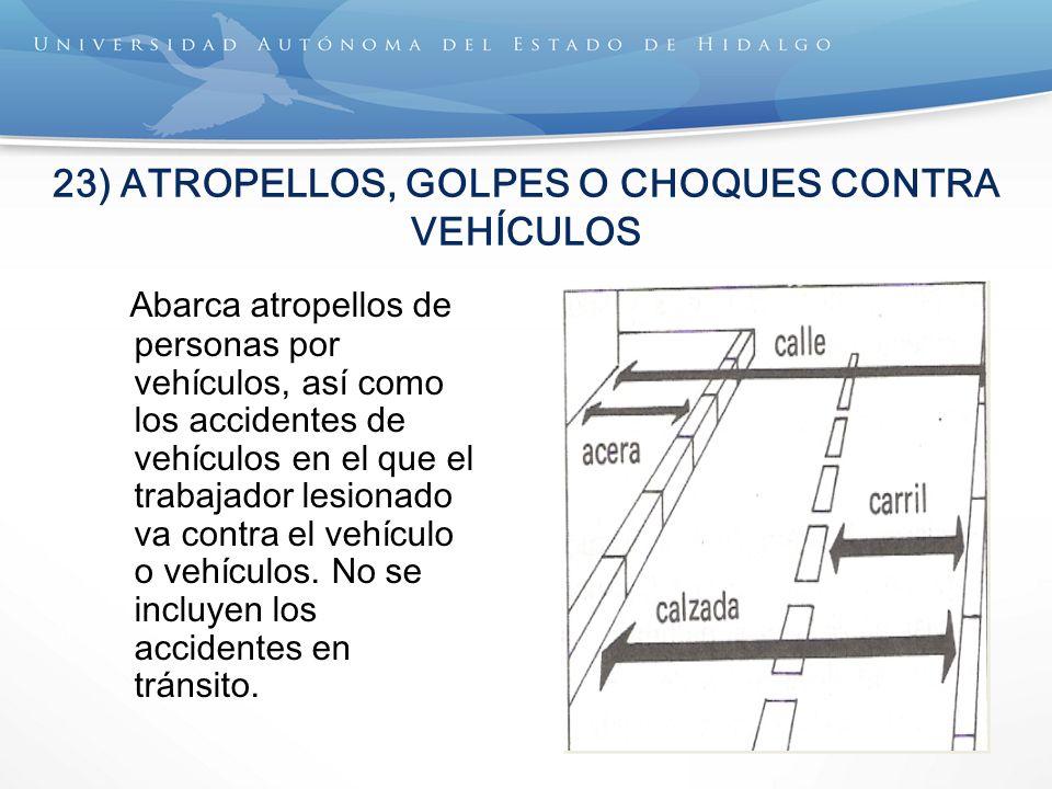 23) ATROPELLOS, GOLPES O CHOQUES CONTRA VEHÍCULOS